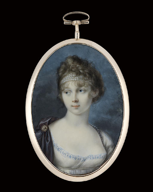 Princess Zinaida Aleksandrovna Belosel'skaia-Belozerskaia (+ 1862), in white dress with blue embroidered border, purple silk cloak with pearl- set clasp, strings of pearls worn as a headband in her fair curling hair