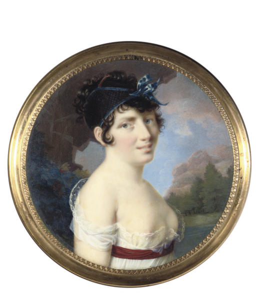 A young lady, in lace-bordered loose white dress, revealing her right breast, crimson sash at her waist, tortoiseshell and pearl comb and blue hair net tied with blue ribbon in her upswept curling dark hair; rocky landscape background