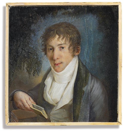 Count Kyrill Alekseevich Razumovskii (1780-1829), in blue coat with green lapels and collar, pale grey waistcoat, white shirt, holding a book; landscape background