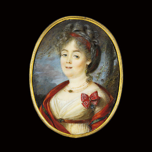 Anna Aleksandrovna Obol'ianinova, née Ermolaeva (1754-1822), in white dress, red belt, gold necklaces, a red stole over her shoulders, a red ribbon in upswept hair, wearing the badge of the Imperial Russian order of St. Catherine at her left breast; sky and tree background