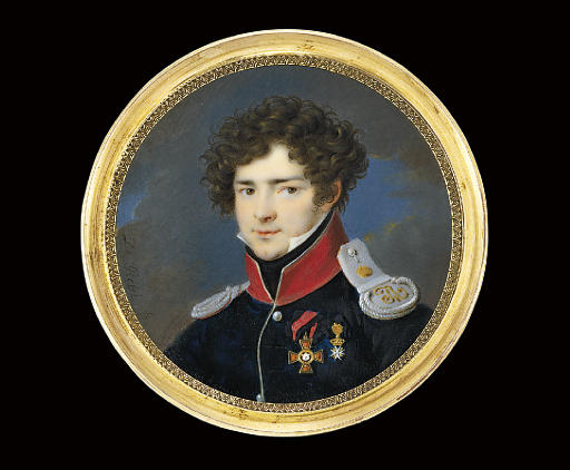 Count Sergei Grigor'vich Stroganov (1794-1882), in silver-piped black uniform with red collar, silver epaulettes, wearing the badges of the Imperial Russian Order of St. Vladimir and the Order of St. John of Jerusalem; nocturnal sky background