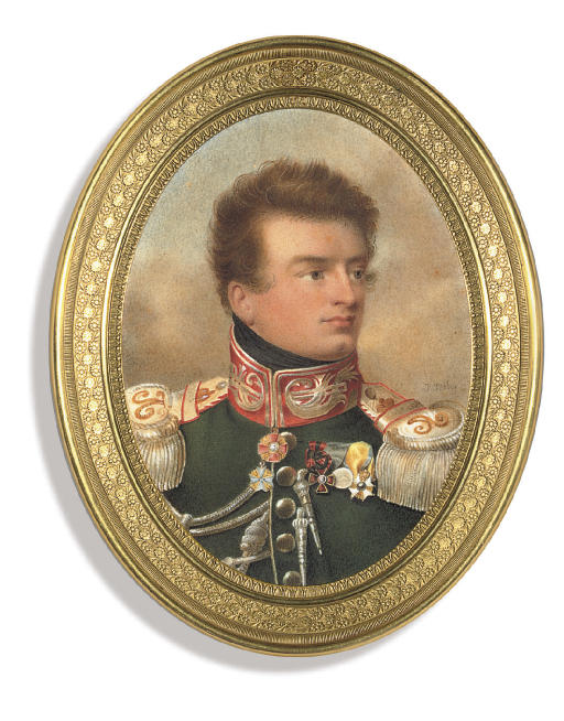 Colonel Count Vasilii Ivanovich Apraksin (1788-1822), in green military uniform with gold-embroidered scarlet collar, silver epaulettes and aiguillettes, wearing the jewels of the Imperial Russian Order of St. Alexander Nevskii and of the Royal Prussian Order 'Pour Le Mérite', the badges of the Imperial Russian Order of St. Vladimir, the Imperial Russian medal for the 1812 Campaign and the Royal Swedish Order of the Sword