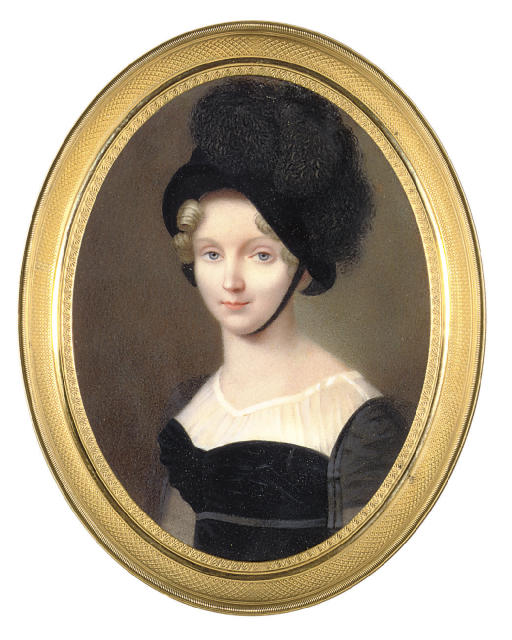 The Dowager Empress Elizaveta Alekseevna (1779-1826), in black dress, black bonnet and feathers