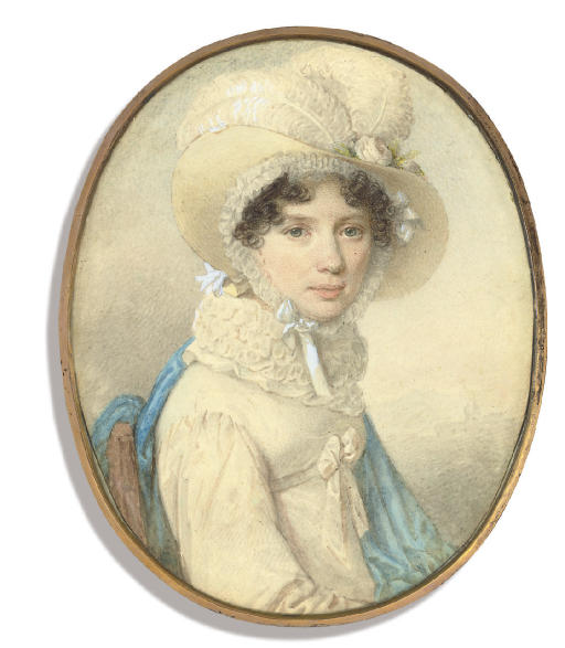 A lady of the Danzas family, seated in white dress tied with a bow at corsage, frilled collar, blue stole over her left arm, straw hat with ostrich feathers over her lace bonnet