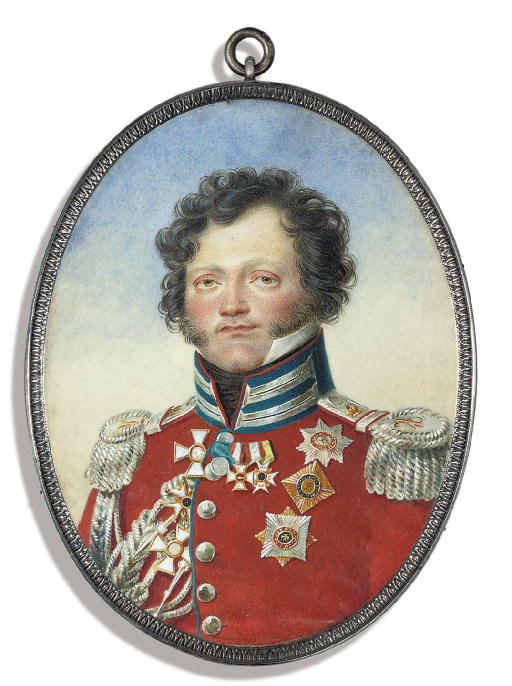 General Fedor Petrovich Uvarov (1769-1824), in scarlet coat with silver-embroidered blue collar and silver epaulettes and lacing, wearing the breast-star and badge of the Imperial Russian Military Order of St. George and other decorations including the breast-stars of the Imperial Russian Orders of Sts. Alexander Nevskii and Vladimir, the Imperial Russian 1812 Campaign Medal, the badges of the Imperial Austrian Military Order of Maria Theresa and the Royal Swedish Order of the Sword