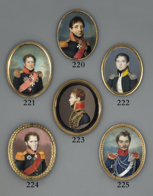 General Petr (Varfolomei) Andreevich Kikin (1775-1834), in military uniform of black coat with gold-embroidered red collar and gold epaulettes, wearing orders including the red sash and breast-star of the Imperial Russian Order of St. Alexander Nevskii, St. Anne (1st class), and the jewel and breast-star of the Military Order of St. George (2nd class); sky background
