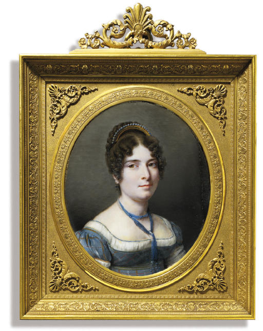 A portrait of the artist's wife in blue plaid dress with white underslip, pearls and blue beaded necklace, wearing a gem-set gold comb in her dark curling hair