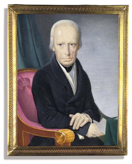 Francis I (1768-1835), Emperor of Austria 1806-1835, seated in a velvet and gilt wood mauve-coloured chair embossed with a crown, in black suit, white waistcoat and black stock, holding a letter in his right hand, his left hand clasping his right wrist; green drapery background