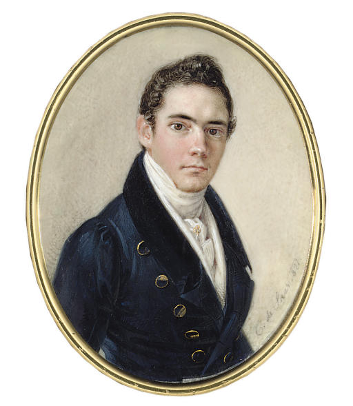 A young gentleman, in blue coat with gold buttons, white waistcoat, white tied cravat with gem-set cravat pin