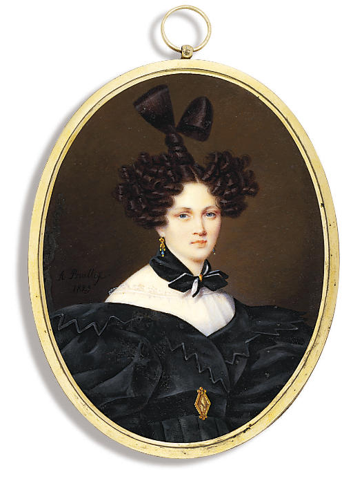 Countess Tolstaia, in black dress with zig-zag border and large puffed sleeves, white underslip, black belt with gold buckle, black scarf around her neck, hair dressed in an Apollo knot