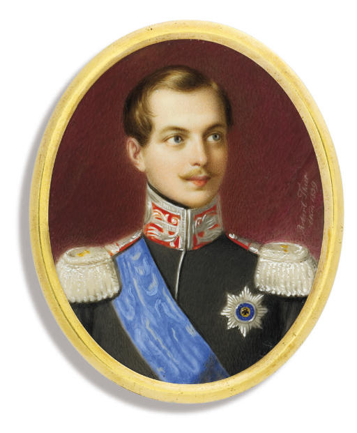 Tsar Alexander II of Russia (1818-1881), in black uniform with silver-embroidered red collar and silver epaulettes, wearing the blue moiré sash and breast-star of the Imperial Russian Order of St. Andrew