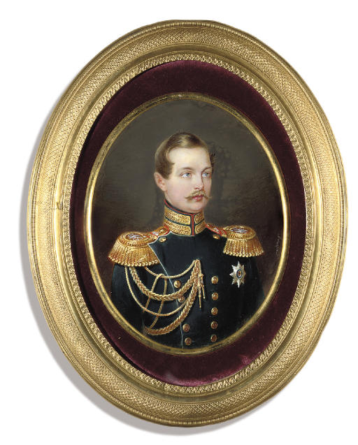 Tsar Alexander II (1818-1881), in dark green uniform with gold-embroidered red collar, gold aiguillete and epaulettes, wearing the breast-star of the Imperial Russian Order of St. Andrew