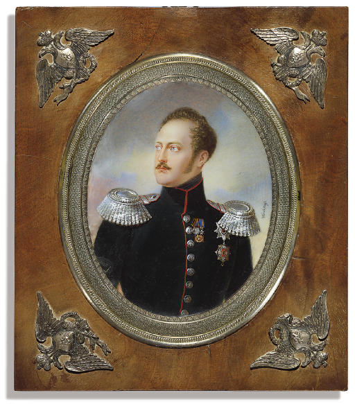 Nicholas I (1796-1855), Tsar of Russia 1825-1855, in red-piped dark green uniform with silver buttons and epaulettes, wearing the breast-stars of the Imperial Russian Orders of St. Andrew and of St. Vladimir combined with the British Order of the Garter, the Imperial Russian Medal for the Turkish Campaign 1828-1829, the badge of the Royal Order of the Crown of Württemberg and the Imperial Russian badge for 15 years of Distinguished Military Services; cloud and sky background