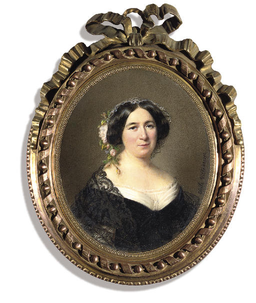 Madame Lejeune de Bellecour, née Desprez, in black dress with pleated white bodice and white underslip, a black lace stole over her shoulders, a lace stole over her shoulders, wearing pink flowers and lace in her dark swept back hair
