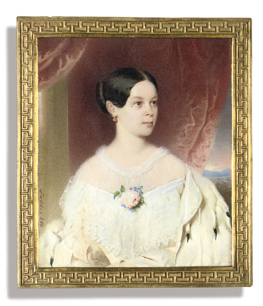 Grand Duchess Alexandra Iosifovna (1830-1911), in white dress with large lace collar, pink rose and blue flowers at corsage, an ermine cloak over her left shoulder, gold and pearl earring, her dark hair swept back; window and crimson curtain background