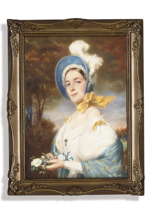 A young lady, in white dress, with yellow ribbons at shoulders, gem-set brooch pinned at corsage, embroidered blue shawl draped across her arms, blue bonnet with white plume, white frill and yellow sash tied under her chin, holding a bouquet of white roses in her hands; tree and landscape background