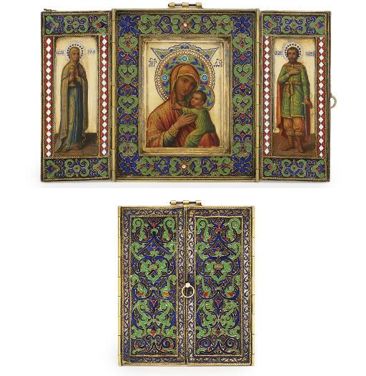 A silver-gilt, cloisonné and champlevé enamel triptych icon