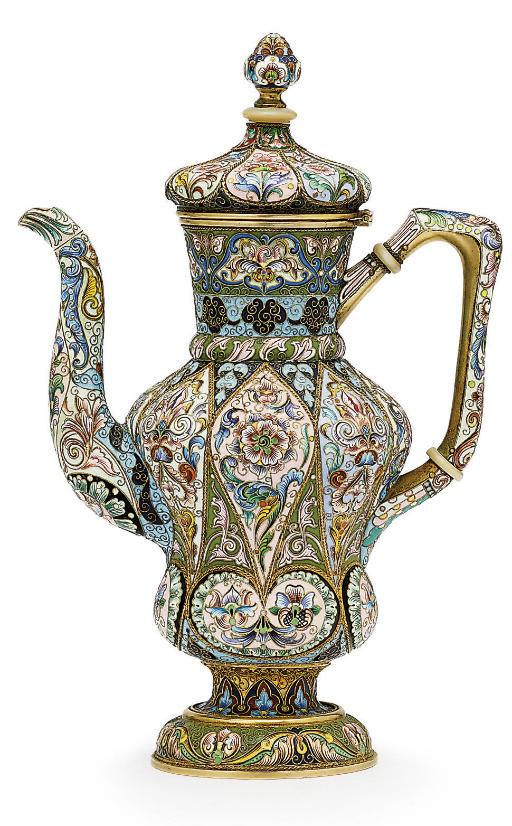 A silver-gilt and cloisonné enamel coffee-pot
