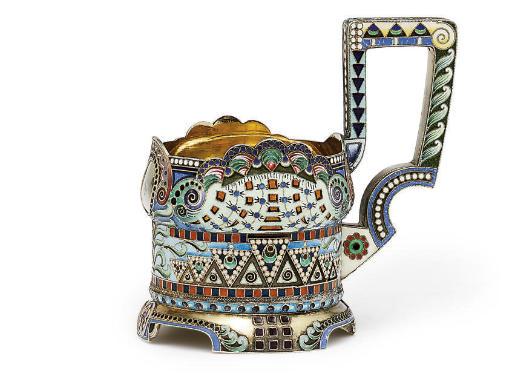 A silver-gilt and cloisonné enamel tea-glass holder