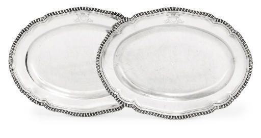 A PAIR OF GEORGE III IRISH SILVER MEAT-DISHES FROM THE EARL OF DROGHEDA SERVICE