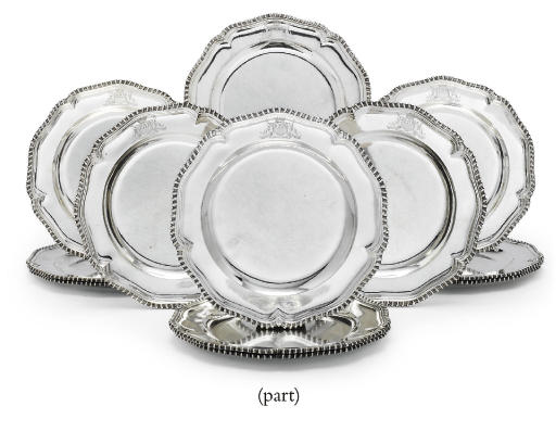 A SET OF TWELVE GEORGE III IRISH SILVER DINNER PLATES FROM THE EARL OF DROGHEDA SERVICE AND SIX MODERN PORTUGUESE PLATES TO MATCH