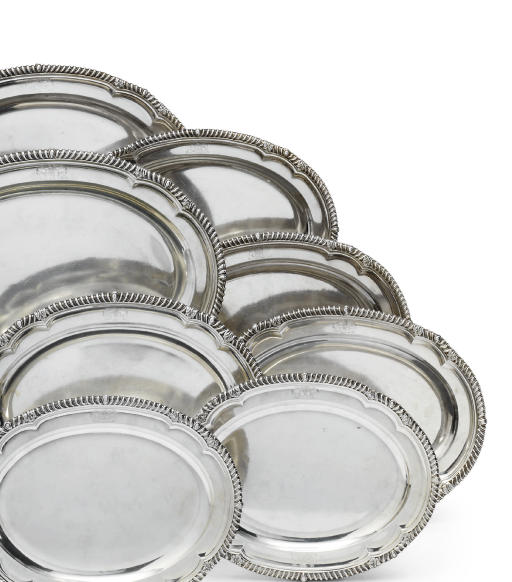 A SET OF EIGHT GEORGE IV SILVER MEAT-DISHES