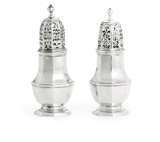 TWO SIMILAR GEORGE I SILVER CASTERS