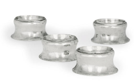A SET OF FOUR GEORGE I SILVER TRENCHER-SALTS