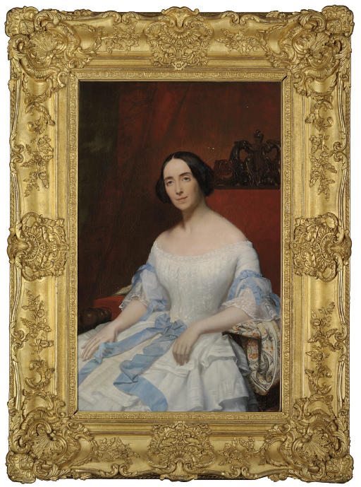 Portrait of Helena, Baronne Fould, seated, three-quarter-length, in a white dress with blue ribbon