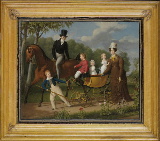 Portrait of a gentleman on horseback, said to be the Russian architect Voronikhin in the grounds of Pavlosk Palace, with his wife and children