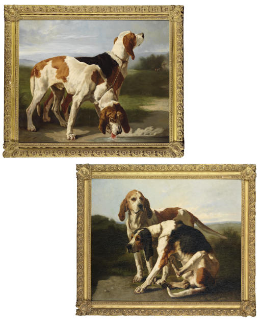Two tethered hounds, one drinking water, in a landscape; and Two tethered hounds, one sitting, in a landscape