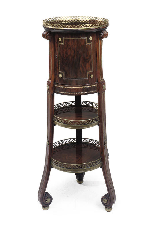 A FRENCH BRASS-MOUNTED ROSEWOOD TABLE À OUVRAGE