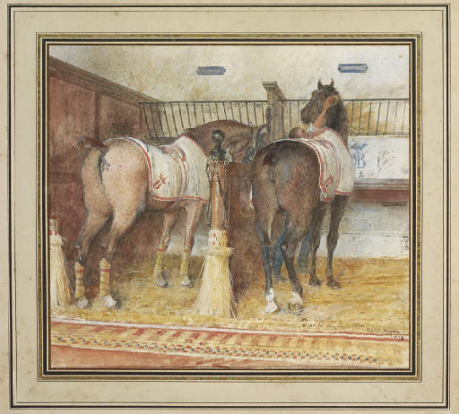 Two horses and a groom, in a loose box