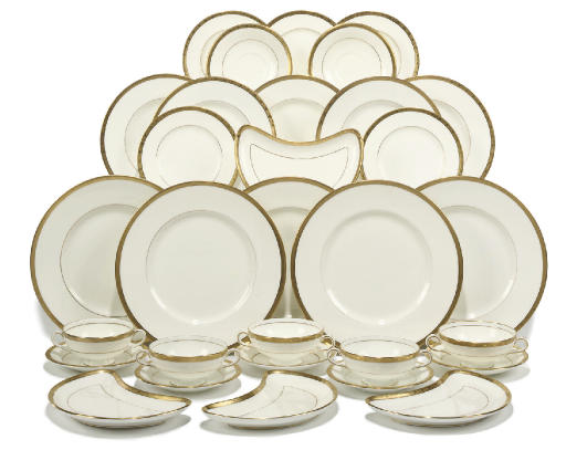 A MINTON WHITE AND GILT PART DINNER SERVICE