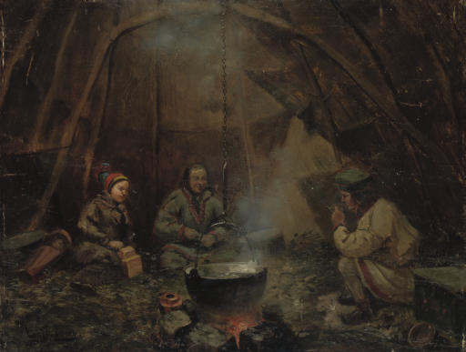 A Lapp family cooking dinner in a goahti, Lapland
