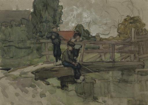Boys fishing on a bridge