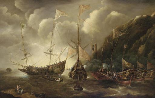 A Mediterranean capriccio of a sea fight between European merchantmen and Ottoman galeasses