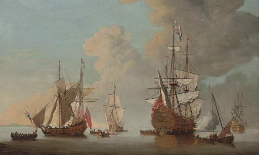 The flagship Royal Sovereign firing a salute at the Nore with other warships and Admiralty yachts in attendance