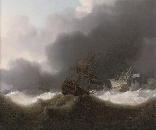 Ships of the Red Squadron reefed down in a gale