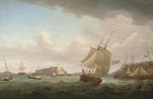 A merchantman and other vessels off Castle Cornet, Guernsey