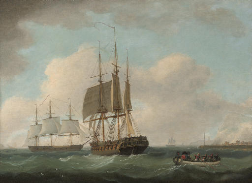 English frigates hove-to off a port, with officers being rowed ashore