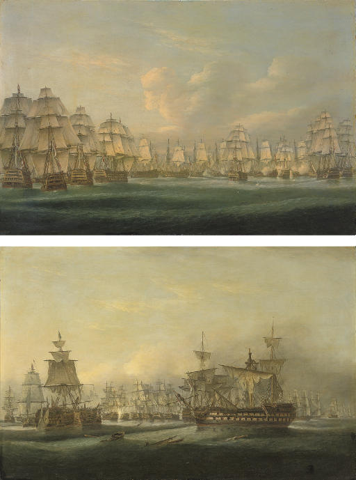 The British fleet going into action at Trafalgar, with Admiral Collingwood's Royal Sovereign breaking the line ahead of Nelson's Victory; and In the midst of battle, Trafalgar at 3.30 p.m.