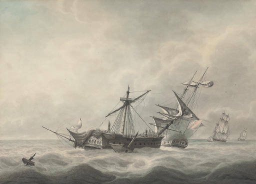 H.M.S. Dido engaging the French frigate La Minerve, with H.M.S. Lowestoft chasing L'Artémise beyond, 24th June 1795