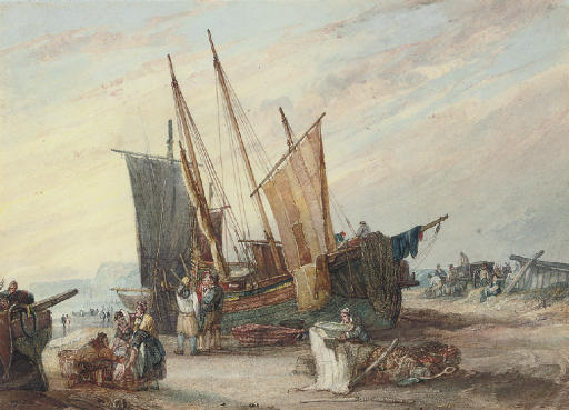 Fisherfolk unloading the catch on the south coast