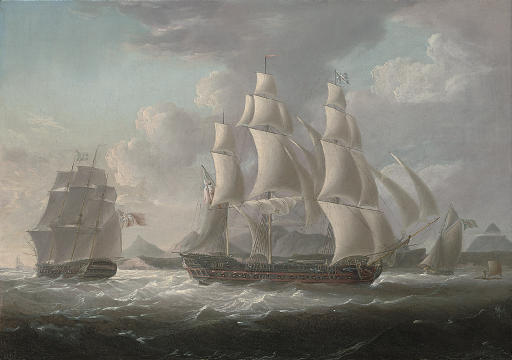 Royal Naval frigates and an armed cutter off a West Indian island, believed to be Martinique, with a native raft offshore