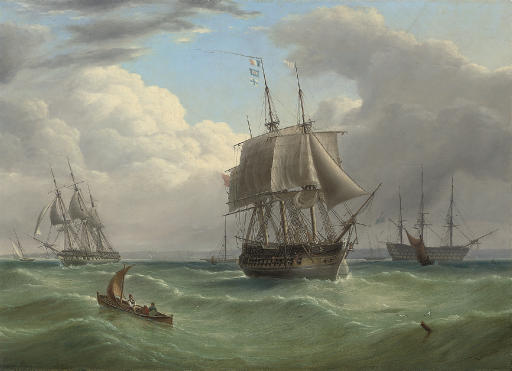 Two large frigates running into Spithead with a flagship of the Blue anchored beyond