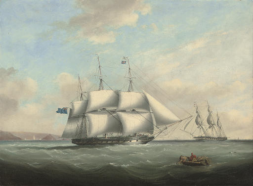 H.M.S. Pique emerging from Plymouth Sound and exchanging signals with an in-bound frigate off her port bow