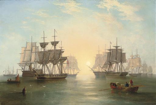 The fleet at anchor in an evening calm