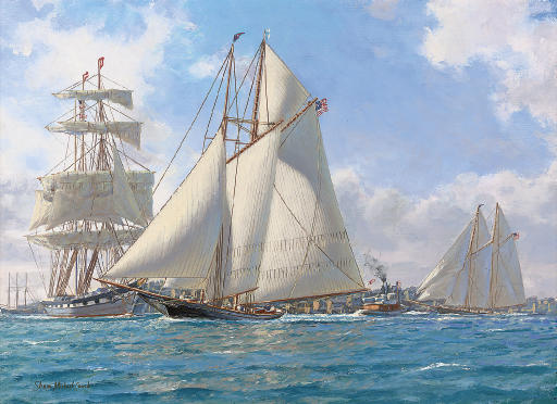 Dauntless ahead of Sappho off the Battery in New York Harbour