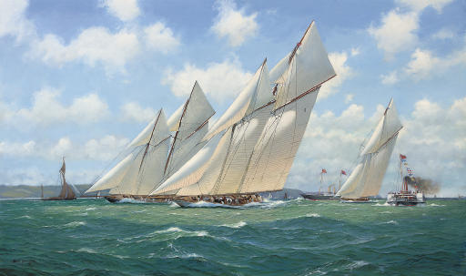 Westward, Susanne and White Heather (II) powering to windward in the Solent, 1910